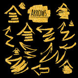 Set of glitter golden arrows. Vector illustration for your design Stock Image