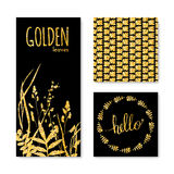 Set of glitter golden leaves banner, frame and background Stock Image