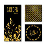 Set of glitter golden leaves banner, frame and background Royalty Free Stock Photography