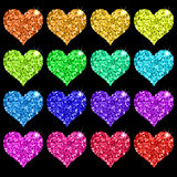 Set of glitter hearts. Set of colorful glitter hearts on black background. Vector illustration Stock Image