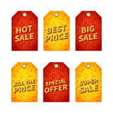 Set of glitter sale tags with gold glitter text. Royalty Free Stock Photo