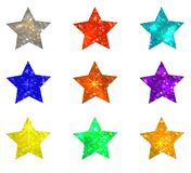 Set of glittering stars on white background. VECTOR illustration. Design elements set Royalty Free Stock Image