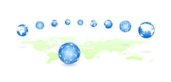Set global spheres on a map Royalty Free Stock Image