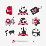 Set globalne kupienie ikony ilustracja wektor