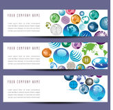 A set of globe banners Royalty Free Stock Photography