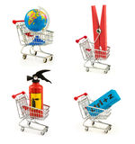 Set of globe, clothes peg, blue eraser with combination. `ctrl+z`, extinguisher in the shopping carts isolated on white background stock photo