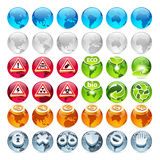 Set of the Globe Icons Stock Photography