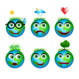 Set globe icons, smiles Stock Image