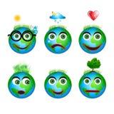 Set globe icons, smiles. Vector illustration Stock Illustration