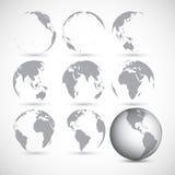 Set of globe icons vector illustration. Set of gray globe icons vector illustration Stock Photos