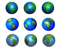 Set of globe illustrations. A set of globe illustrations isolated on white Stock Photo