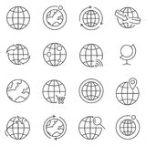Set of globe line vector icons. royalty free illustration