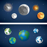 Set of Globe and moon icon. Royalty Free Stock Photos