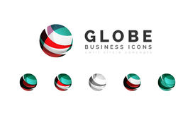 Set of globe sphere or circle logo business icons Royalty Free Stock Images
