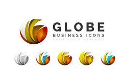 Set of globe sphere or circle logo business icons Stock Photos
