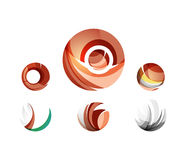 Set of globe sphere or circle logo business icons Stock Images
