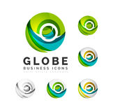 Set of globe sphere or circle logo business icons. Created with overlapping colorful abstract waves and swirl shapes Stock Photo