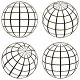 Set globe, the technical picture of the contours of the earth Royalty Free Stock Images