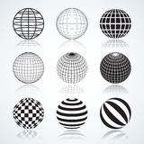 Set of 9 Globes, Abstract Circular Design Elements Stock Photos