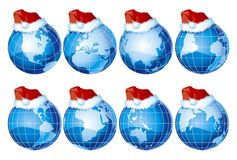 Set of globes with christmas decoration. Vector set of eight kind of globe with santa claus hat Royalty Free Stock Photography