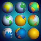 Set of globes, Color world map vector Stock Images