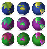 Set of globes in different colours Stock Photo