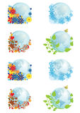 Set of globes four seasons Royalty Free Stock Photography