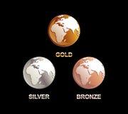 Set of globes illustration. Royalty Free Stock Photos