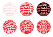 Set of globes with valentines Stock Images