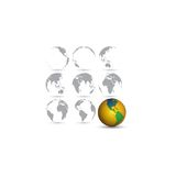 Set of globes, world map vector illustration Stock Image