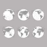 Set of globes, World Map Vector Illustration, Stock Photo