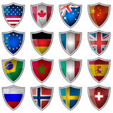 Set of glossy badges or labels with flags popular countries Royalty Free Stock Image
