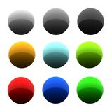 Set of glossy balls. In nine different colors. 3d rendered image Stock Photography