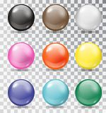 Set of glossy balls on a transparent background Stock Image