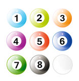 Set of glossy billiard balls Stock Photography
