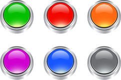 Set of glossy blank buttons. Colorful glossy blank button set for web and print usage royalty free illustration