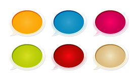 The set of glossy blank speech bubbles. The collection of six blank glossy speech bubbles Stock Photo
