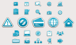 Set of glossy business icons sign web Stock Photos