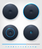 Set of glossy button and icons on theme of audio Royalty Free Stock Image