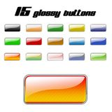 Set of glossy buttons 01. A set of 15 glossy web buttons Royalty Free Stock Images