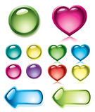 Set of glossy buttons Stock Photos