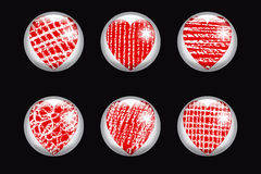 Set of  glossy buttons with  heart. Stock Photo