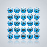 Set of 25 glossy buttons for web or interface design Royalty Free Stock Photography