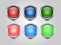 Set of glossy circle buttons. Stock Images