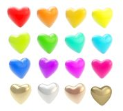 Set of glossy coloful hearts isolated on white Royalty Free Stock Images