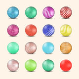 Set of glossy colored balls with halftone fill, vector illustration. Stock Image