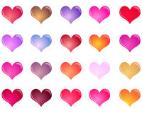 Set of glossy colorful hearts Royalty Free Stock Image