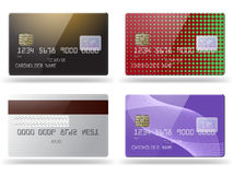Set of glossy credit cards. Stock Photo