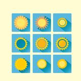 Set of glossy flat style vector sun icons images Royalty Free Stock Image