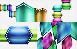 Set of glossy geometric shapes abstract backgrounds. Vector templates for banner, business or techno design stock illustration